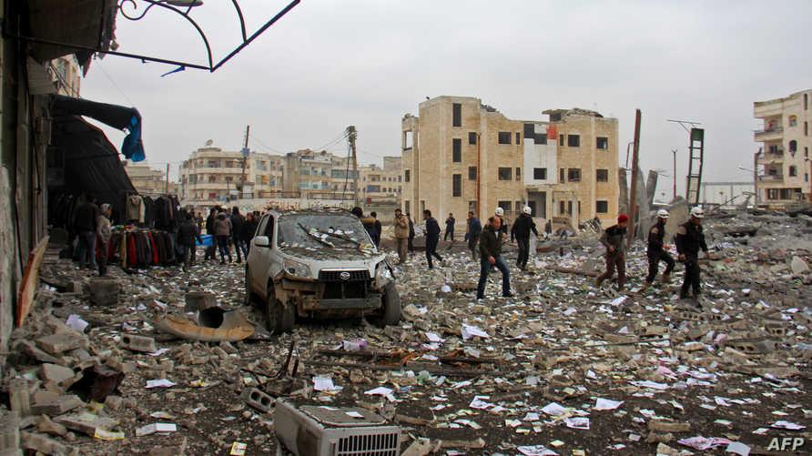 مخلفات غارات سابقة في إدلب
