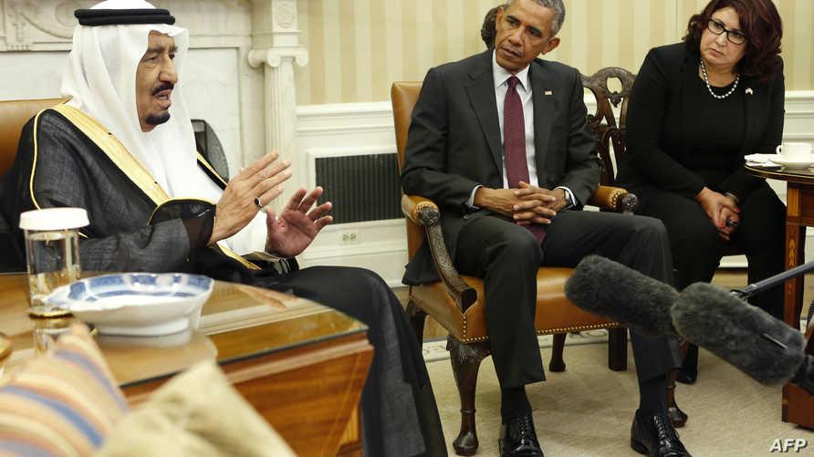 الملك سلمان مع الرئيس أوباما في واشنطن
