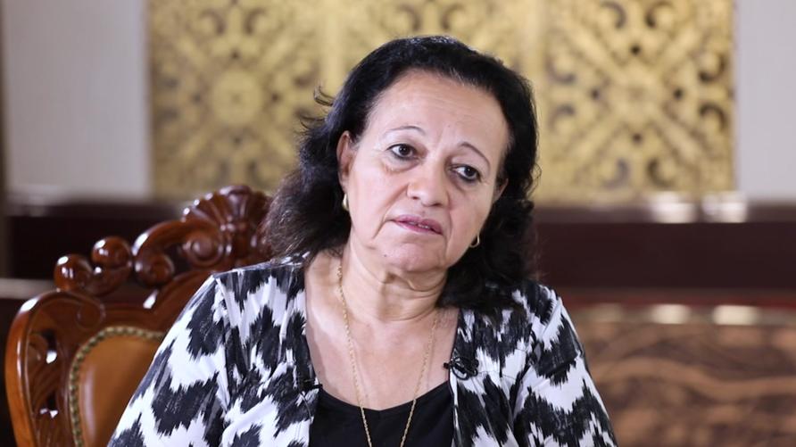 السيدة رجاء نيكولا عيسى خلال المقابلة الخاصة مع قناة الحرة