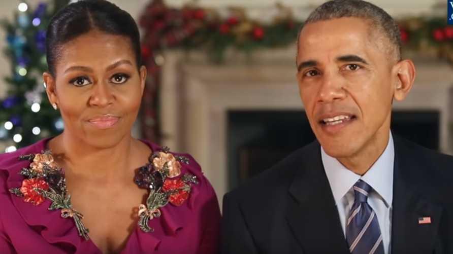 أوباما وميشيل في رسالة الميلاد -المصدر: فيديو من موقع البيت الأبيض