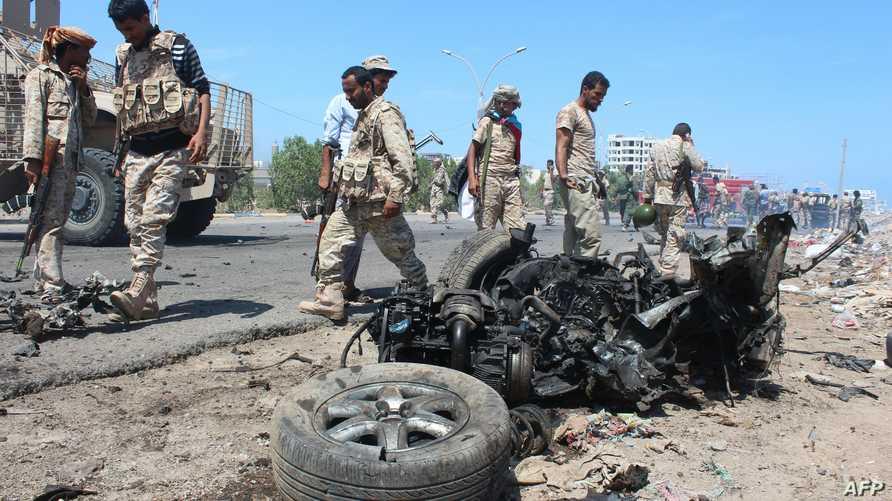 مخلفات تفجير انتحاري سابق في عدن
