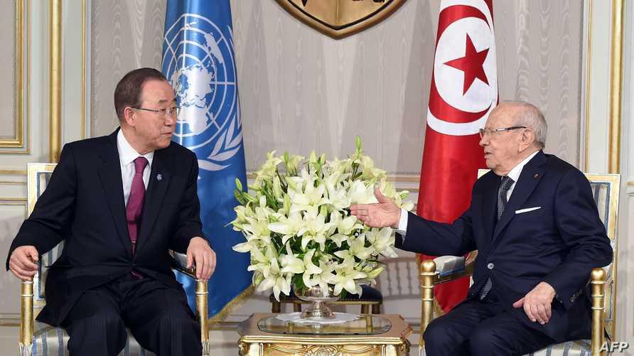 الرئيس التونسي يستقبل بان كي مون