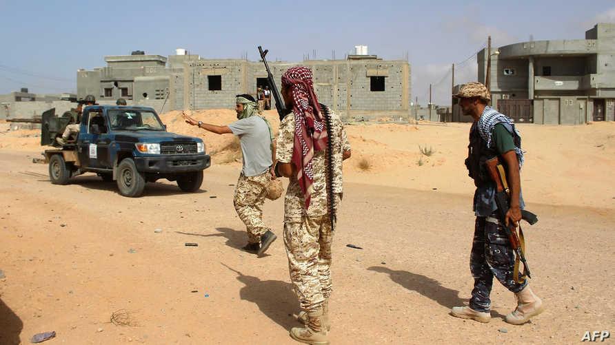 عناصر في القوات الليبية التي تحارب داعش في سرت