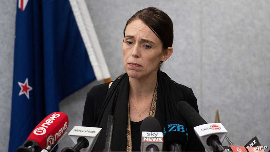 رئيسة وزراء نيوزيلندا جاسيندا أرديرن في مؤتمر صحفي