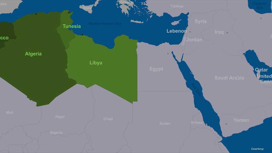 خريطة البلدان المغاربية