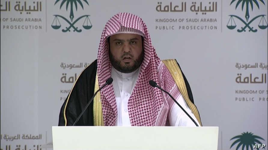 وكيل النيابة العامة السعودية شلعان الشلعان خلال المؤتمر الصحافي