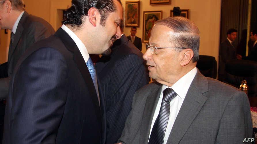 رئيس التيار الوطني الحر ميشال عون مع رئيس تيار المستقبل سعد الحريري