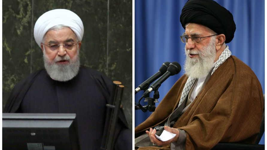 المرشد الإيراني علي خامنئ و رئيس إيران حسن روحاني