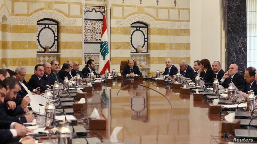 جانب من جلسة سابقة لمجلس الوزراء اللبناني في قصر بعبدا