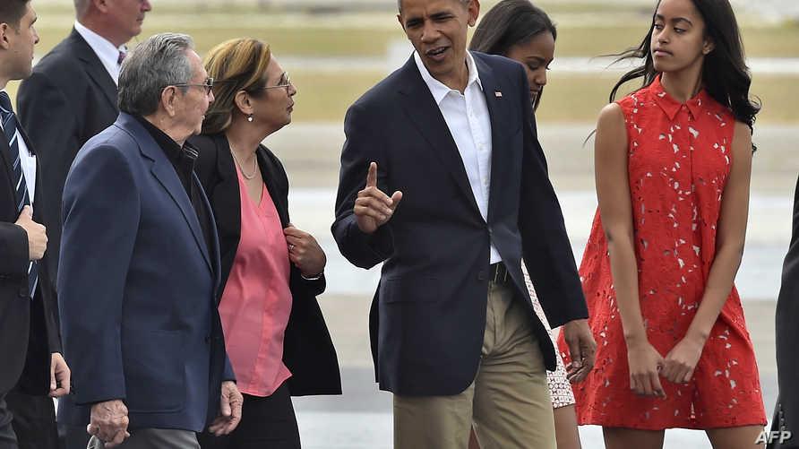 الرئيس باراك أوباما لدى وصوله إلى هافانا