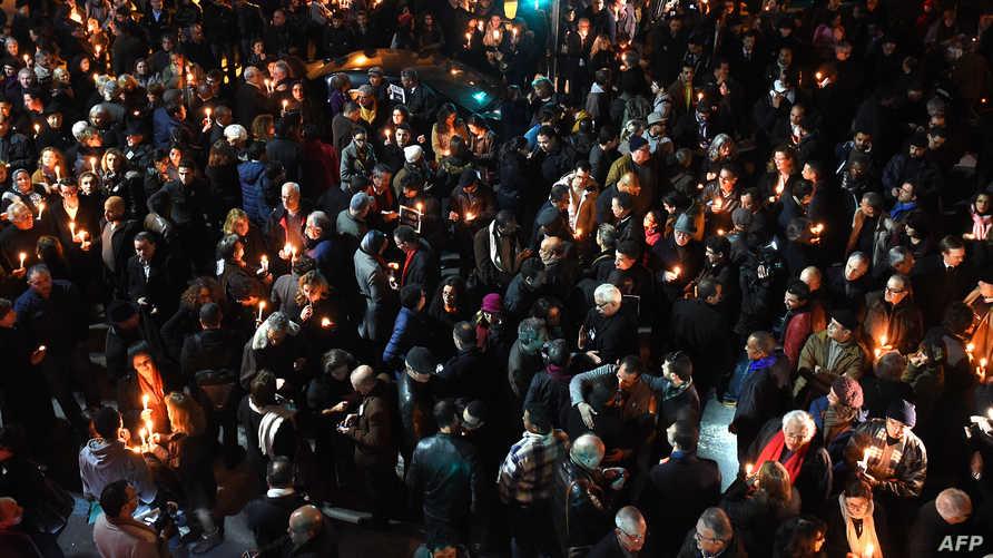 مغاربة يتظاهرون تضامنا مع ضحايا هجوم شارلي إبدو في فرنسا-أرشيف