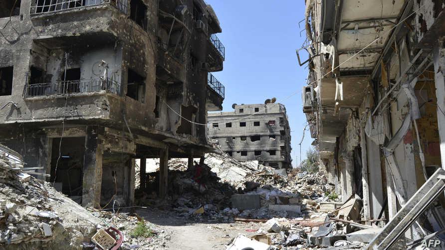صورة ملتقطة في الخامس من نيسان/أبريل لإحدى المناطق المدمرة في مخيم اليرموك جنوب دمشق