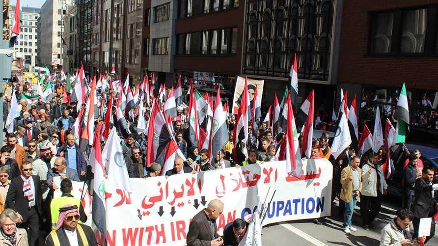 مظاهرة أحوازية في عام  2015 ببروكسل احتجاجا على الاحتلال الإيراني