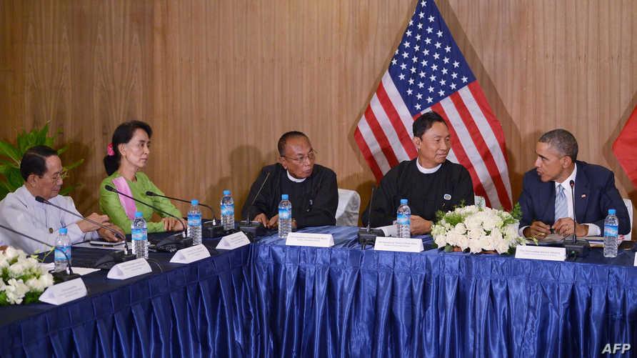الرئيس أوباما يلتقي نواب في البرلمان بحضور زعيمة المعارضة في بورما