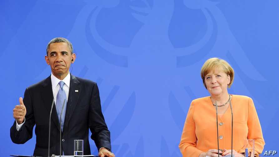 الرئيس أوباما خلال مؤتمر صحافي مع المستشارة الألمانية أنغيلا ميركل