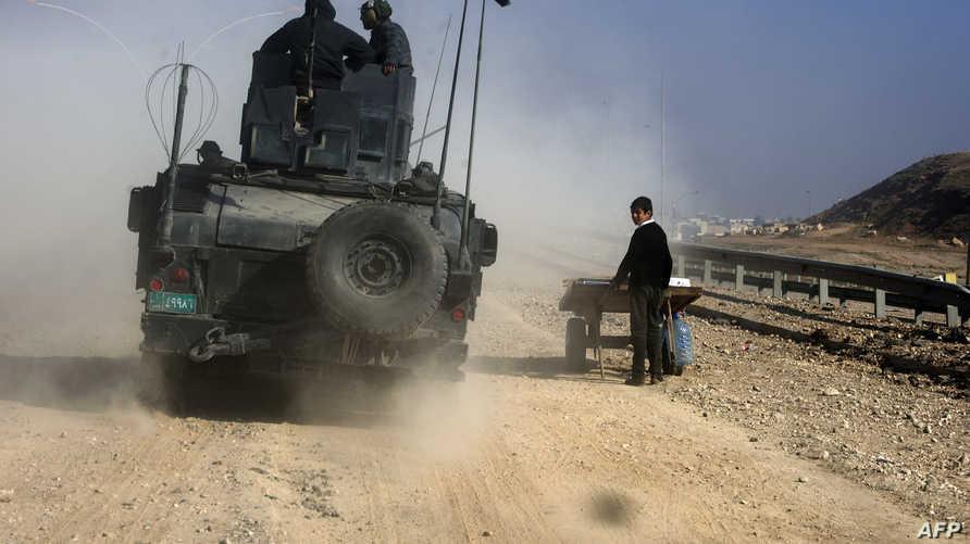 مركبة تابعة للقوات الخاصة العراقية شرقي الموصل