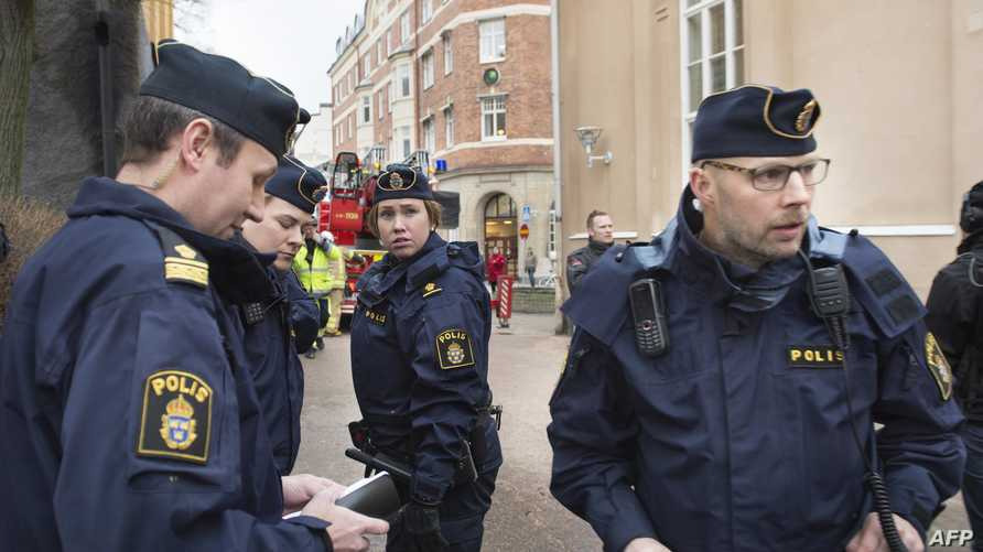 عناصر من الشرطة السويدية في العاصمة ستوكهولم