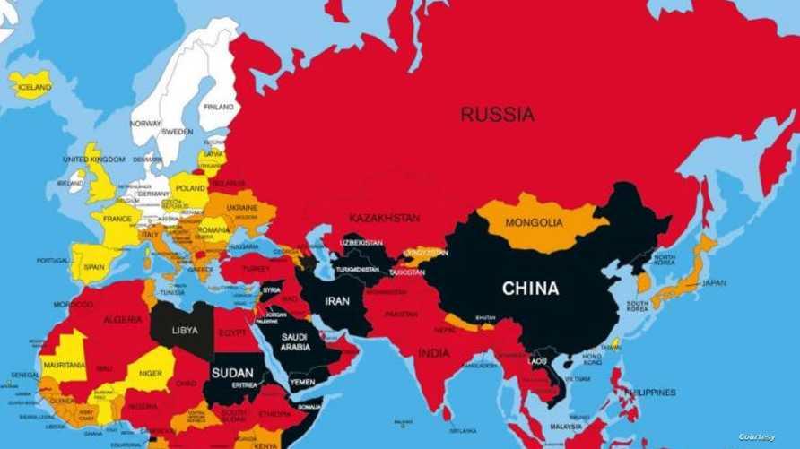 """مؤشر حرية الصحافة في عدد من بلدان العالم، وفق منظمة """"مراسلون بلا حدود"""""""