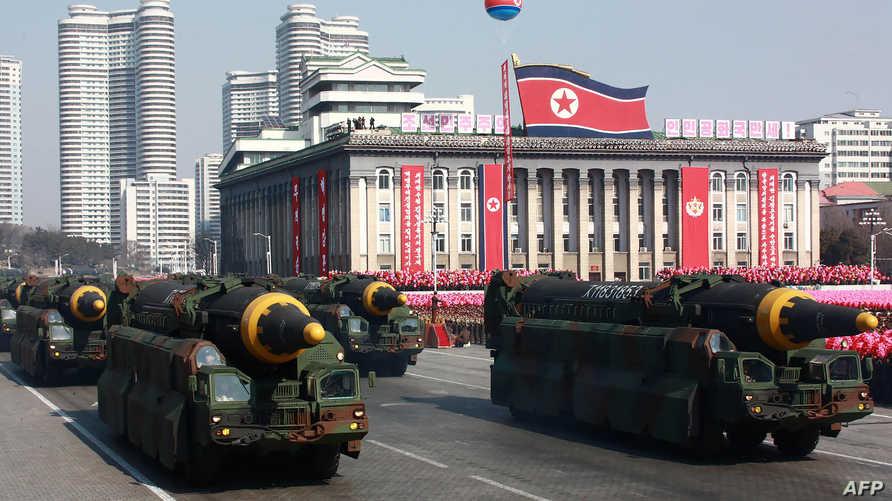 صواريخ بالستية في استعراض عسكري بكوريا الشمالية