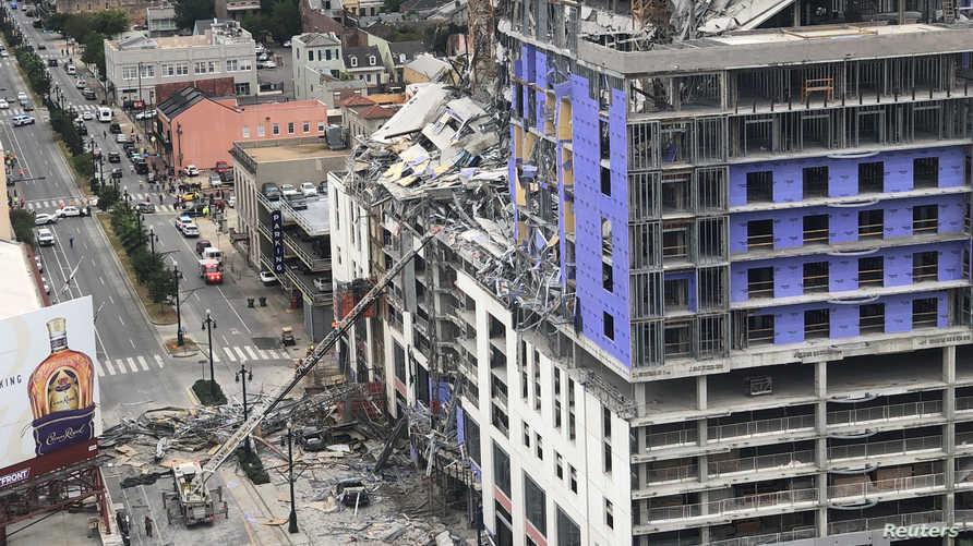 فندق هارد روك بعد تعرض عدد من طوابقه للانهيار في مدينة لويزيانا