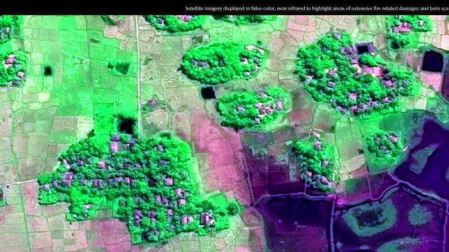 صورة جوية لإحدى قرى ولاية راخين قبل تدميرها(هيومن رايتس ووتش)