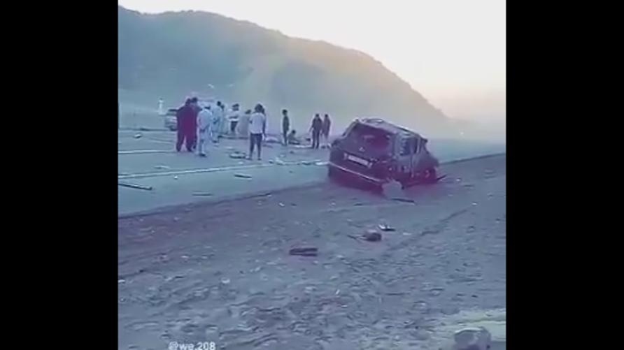 صورة للحظة وقوع حادث السير