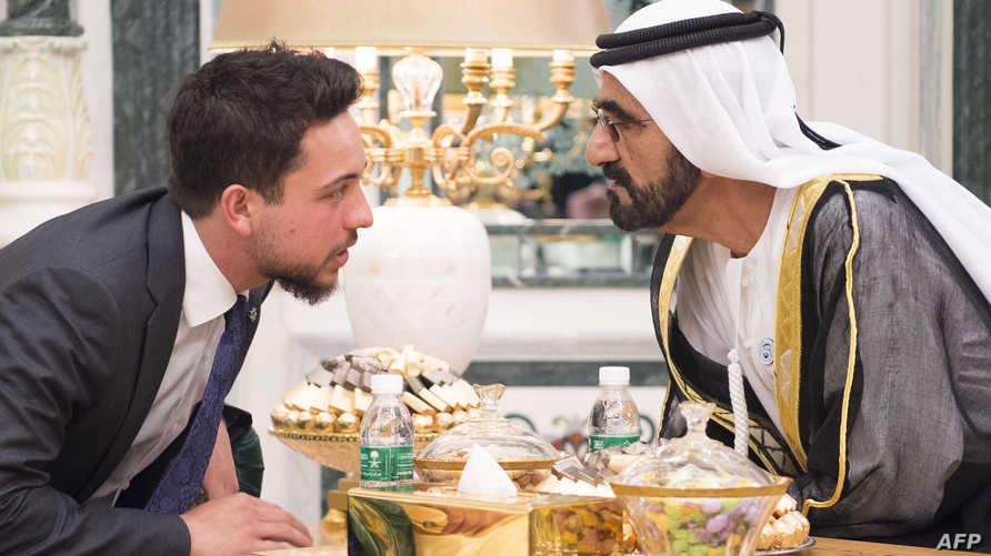 الشيخ محمد بن راشد آل مكتوم نائب رئيس الإمارات ورئيس مجلس الوزراء، وولي العهد الأردني حسين بن عبدالله