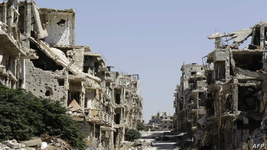 جانب من الدمار في مدينة حمص- أرشيف