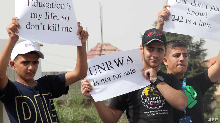 جانب من مظاهرة نظمها اللاجئون الفلسطينيون أمام مقر الأونروا في عمان، ارشيف