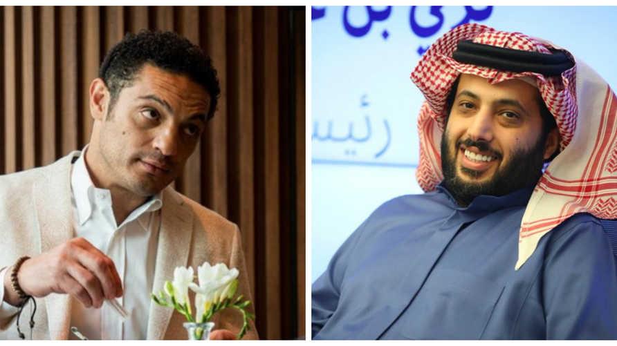 على اليمين رئيس إدارة هيئة الترفيه السعودية تركي آل الشيخ وعلى اليسار الفنان المصري محمد علي