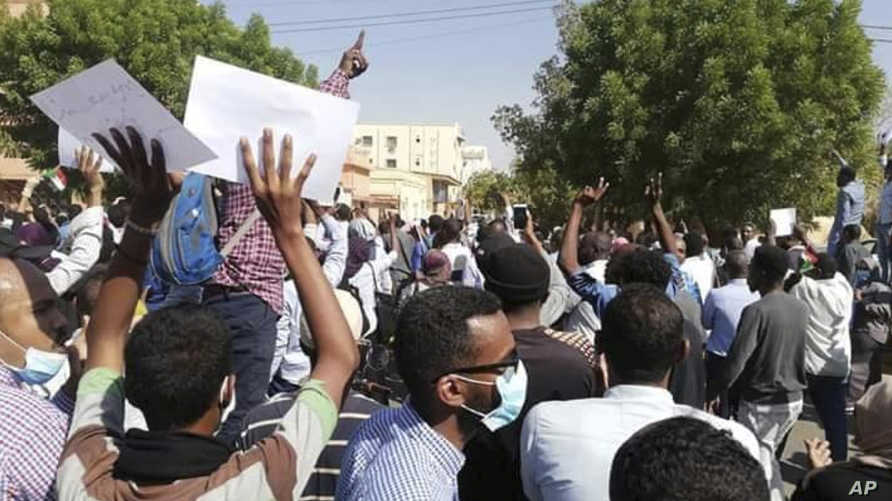 جانب من مظاهرة مناهضة لحكومة السودان