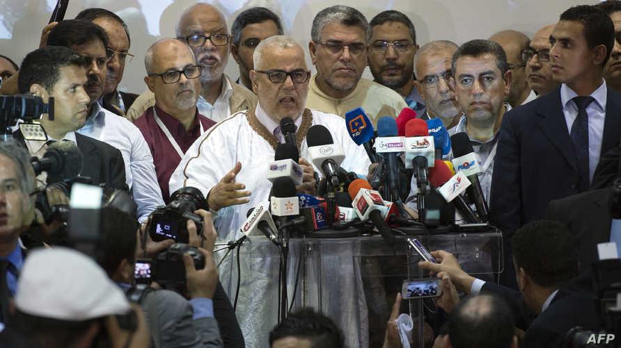 بنكيران خلال مؤتمر صحافي للتعليق على النتائج
