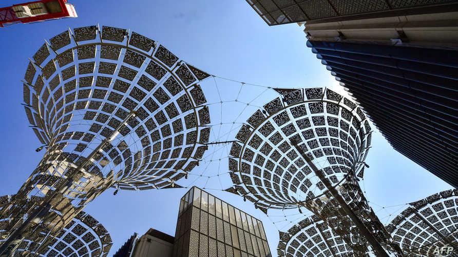 جانب من أعمال الانشاء في معرض دبي إكسبو