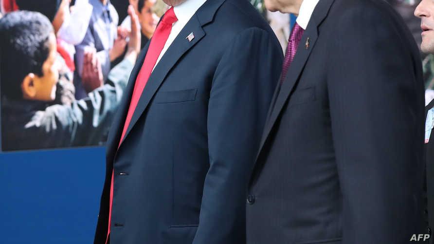 ترامب وإردوغان في مقر حلف الناتو عام 2018