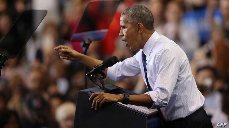 الرئيس باراك أوباما في تجمع انتخابي لصالح كلينتون في فلوريدا