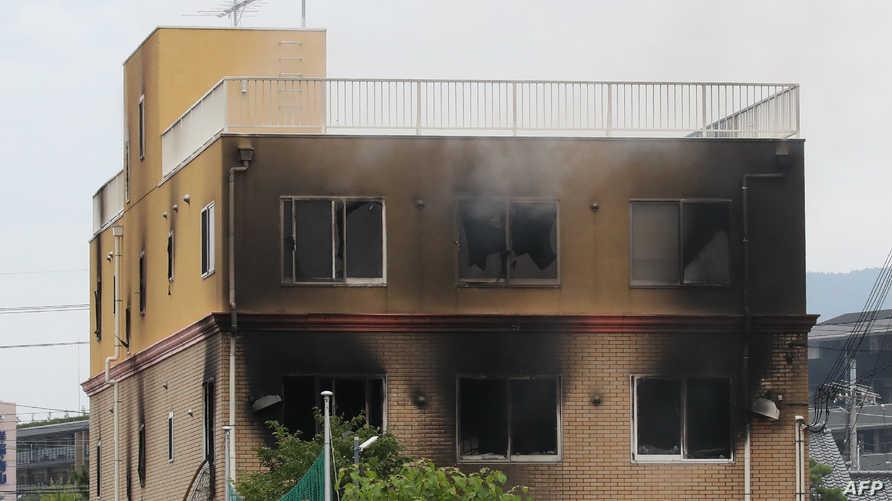 جانب من الحريق الذي وقع في مدينة كيوتو