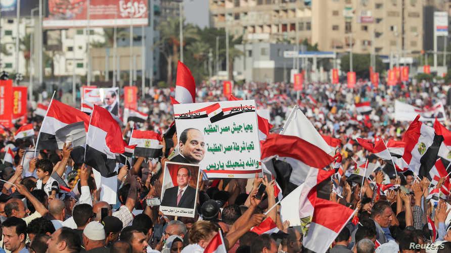 مصريون مؤيدون للسيسي خلال تظاهرة في القاهرة في 27 سبتمبر 2019