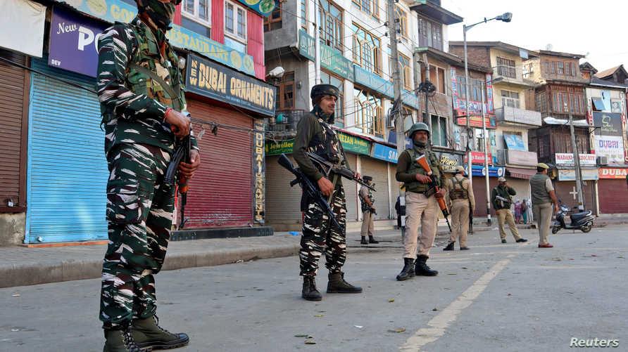 عناصر من الأمن الهندي في سريناغار