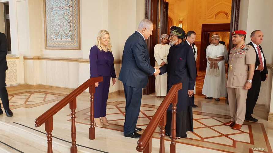 سلطان عمان قابوس بن سعيد ورئيس الوزراء الإسرائيلي بنيامين نتانياهو
