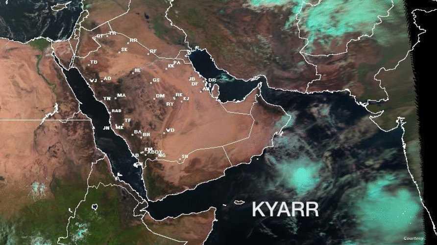 """صورة توضح موقع """"كيار"""" و""""مها"""" في بحر العرب- الصورة من موقع الأرصاد السعودية"""