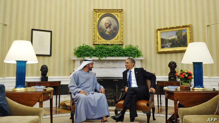 الرئيس باراك أوباما خلال استقباله وزير الخارجية الإماراتي محمد بن زايد آل نهيان. أرشيف