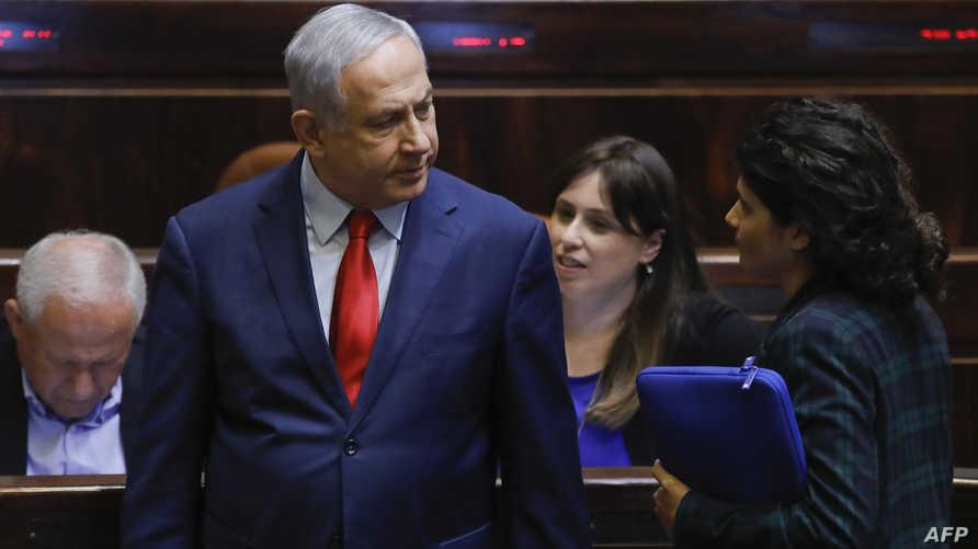 رئيس الوزراء الإسرائيلي بنيامين نتانياهو خلال تصويت الكنيست على انتخابات في أيلول