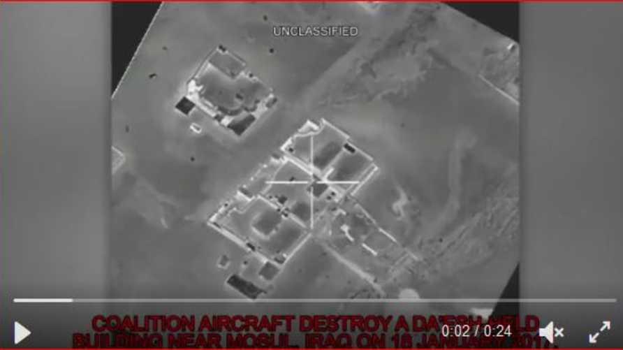 صورة من مقطع فيديو نشرته القيادة المركزية الأميركية للعملية ضد داعش