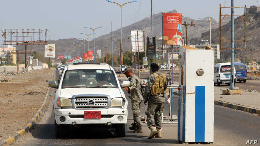 حاجز لقوات الحزام الأمني المدعومة إماراتيا - عدن