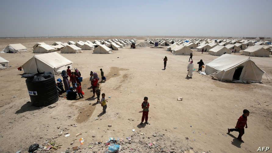 جانب من مخيم للنازحين من الفلوجة في عامرية الفلوجة