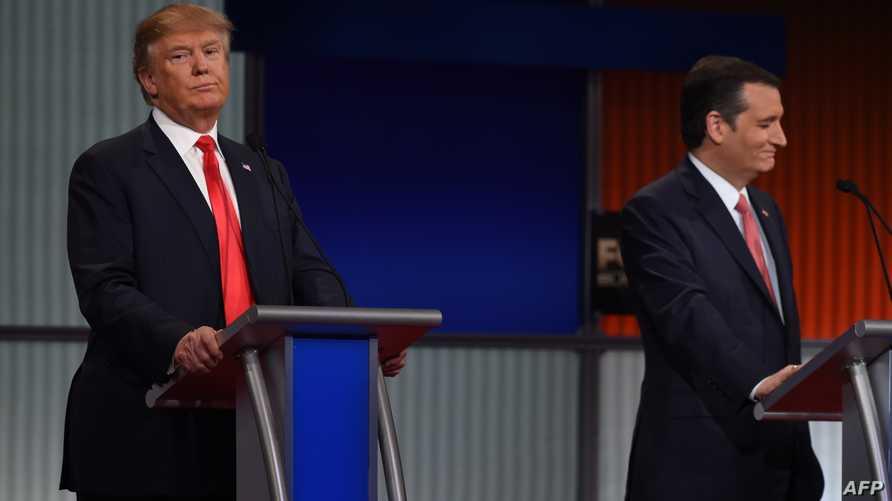 كروز وترامب في إحدى مناظرات المرشحين الجمهوريين منتصف الشهر الماضي