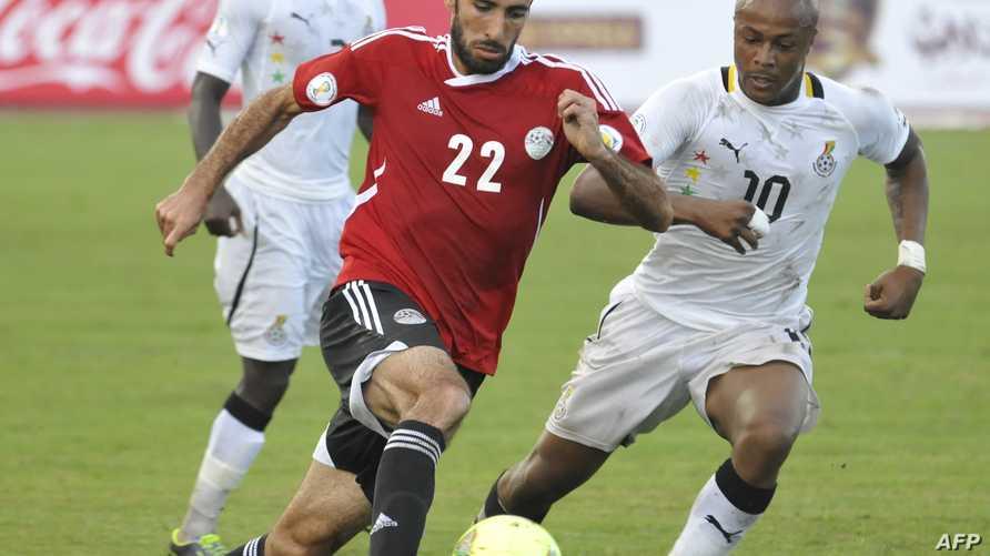 لقطة من مباراة الذهاب بين مصر وغانا