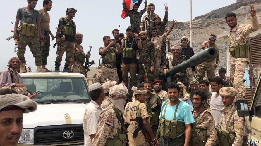 انفصاليون جنوبيون في خور مكسر بعدن اليمنية في 10 أغسطس 2019