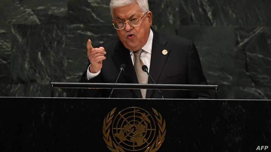 الرئيس الفلسطيني محمود عباس متحدثا أمام الجمعية العمومية للأمم المتحدة