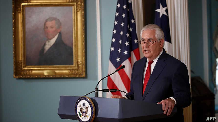 وزير الخارجية ريكس تيلرسون في المؤتمر الصحافي الاربعاء